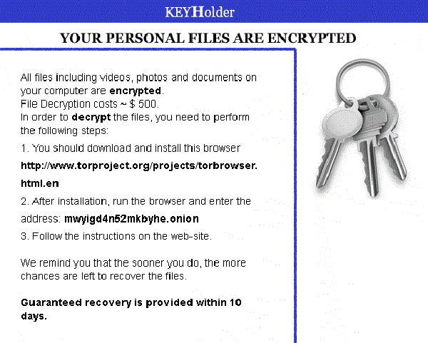 Recovering Files Encrypted by KeyHolder Ransomware