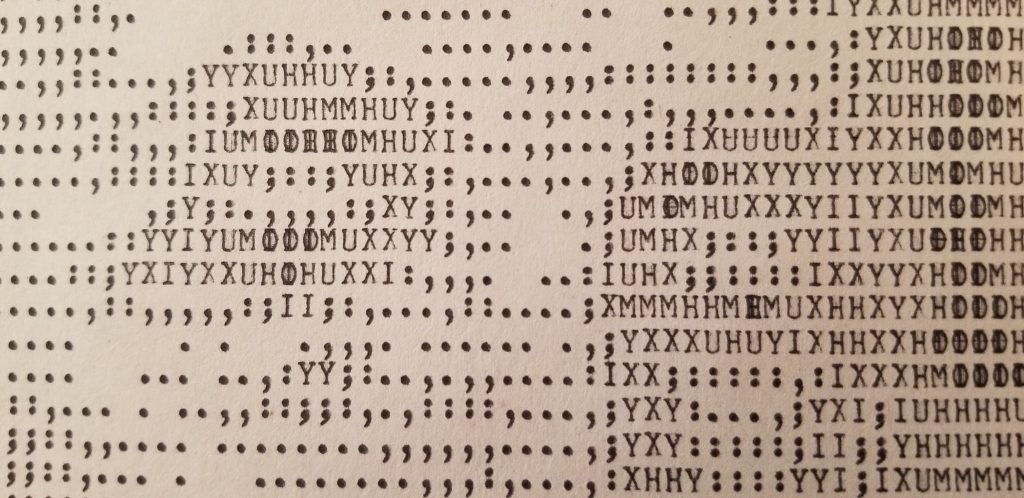 Benjamin Franklin's eyes printed in ASCII (technically ITA2 or Baudot-Murray) art. You may need to step back from the computer to actually see it very well. This one probably took 45 minutes to an hour to print.